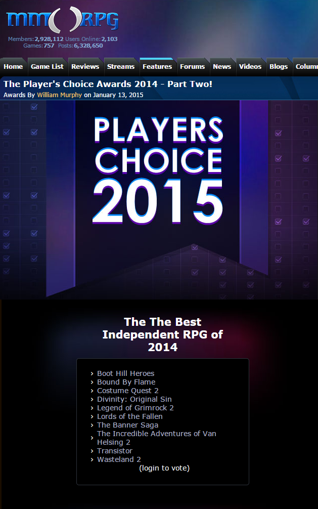 GameOfTheYear Boot Hill Heroes Nominated for Best Indie RPG of 2014